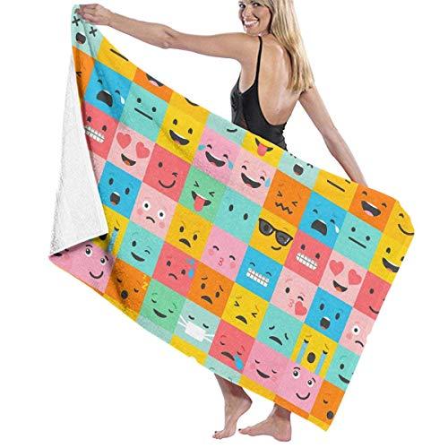 Lsjuee Toalla de Playa de Microfibra para Piscina Emoticonos Coloridos Toalla de baño de Secado rápido Toallas de Surf Esterilla de Yoga (31.5 'X 51.2')