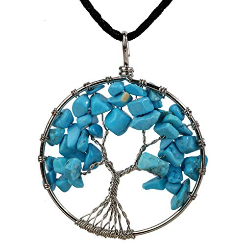 Turquoise Tree of Life Gemstone Pendant Necklace Wire Wrapped Filigree Natural Stone Blue December Birthstone Healing Chakra Spiritual Raw Stone Handcrafted Jewelry for Women Men 18'+2' (turquoise)