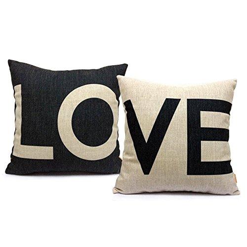 Gspirit Almohada de Pareja Funda cojin LO & VE Decorativo algodón Lino cojín Cubierta Almohada cojínes 45x45 cm para Pareja El Amor, (1)