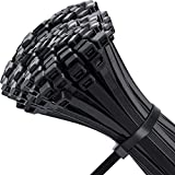 Pack of 100 8 Inch Black Cable Zip Ties. Heavy Duty Wire Ties with 100 LB Tensile Strength. Made with Premium Quality Nylon, 0.3 Inch Width, Multi-Purpose for Indoor and Outdoor Use. UV Resistant.