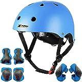 Kinder Multi-Sport-Helm mit Knie- und Ellbogenschützern und Handgelenken 7-teilig Kinder Jungen und Mädchen Outdoor-Sportarten