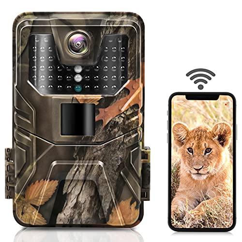Hieha Wildkamera 30MP/4K WiFi, HD-Jagdkamera Bluetooth, 0,2s Schneller Bewegungsmelder, 120° Weitwinkel, 44Infrarot-LEDs HD-Nachtsichtkamera, Zeitrafferaufnahmen, IP66 Wasserdichter, mit 64GB SD-Karte