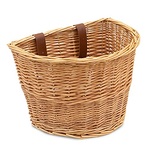 ProsourceFit Wicker Front Handlebar Bike Basket Cargo , light brown, 13 by 9 by 10.5 inches