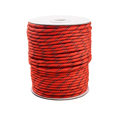 Egurs Reflective Cord 4 mm Red Paracord Nylon Cord Tent Cord Guy Rope for Camping 30 Metres