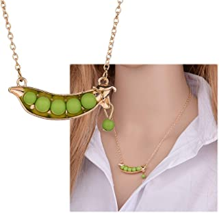 Delicate Green Pea Pods Beans Gold Sweater Chain Pendant Necklace For Women Christmas Gift
