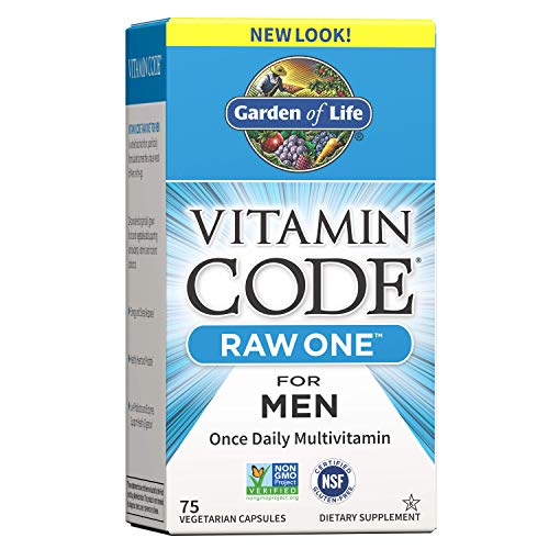 Garden of Life Vegetarian Multivitamin Supplement for Men - Vitamin Code Raw One Whole Food Vitamin with Probiotics, 75 Capsules