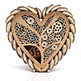 Bugtique Mason Bee House for Outdoors - Large Heart - Shaped Bee and Insect Hotel - Handmade with Natural Bark, Cedar Wood & Bamboo Nesting Tubes - Beautiful Bee Houses for The Garden
