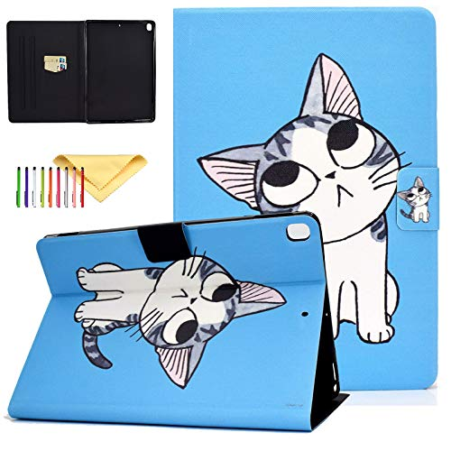 Uliking Apple iPad 10.2 inch Case for iPad 8th Generation 2020 / iPad 7th Generation 2019, iPad 7 7th Gen iPad 8 8th gen Case, Ultra Slim PU Leather Folio Stand Smart Cases and Covers, Blue Cat