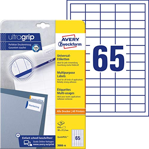 AVERY Zweckform 3666-10 Universal Etiketten (mit ultragrip, 38 x 21,2 mm auf DIN A4, Papier matt, bedruckbar, selbstklebend, 650 Klebeetiketten auf 10 Blatt) weiß