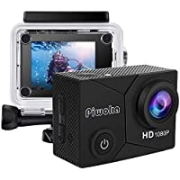 Piwoka 12MP 1080P Waterproof Underwater Sports Camera with 2 Inch LCD Screen Wide Angle with Mounting Accessories Kit (Black)
