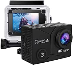 """Piwoka Action Camera 1080P 12MP Waterproof Underwater 98ft Sports Camera 2"""" LCD Screen Wide Angle with Mounting Accessories Kit (Black)"""