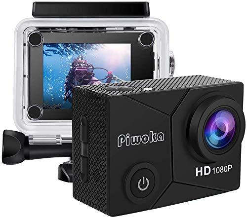 Piwoka Action Cam, Full HD 1080P 12MP Unterwasserkamera wasserdichte 30M Helmkamera 140 °Weitwinkelobjektiv für Beginner mit Zubehör Kits (Schwarz)