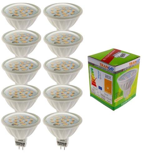 Trango 10er Set 6 Watt LED Leuchtmittel mit MR16 Fassung 10TGMR1615 zum Austausch Halogen Leuchtmittel MR16 I GU5.3 I G4 12 Volt 3000K warmweiß Glühlampe, Reflektor Lampe, LED Birnen