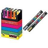 Uni-posca Paint Marker Pen SUPECIAL SET (c-set) Mitsubishi Pencil Uni Posca Poster Color Marking Pens Medium Point 15 Colours (PC-5M15C), Gold & Silver