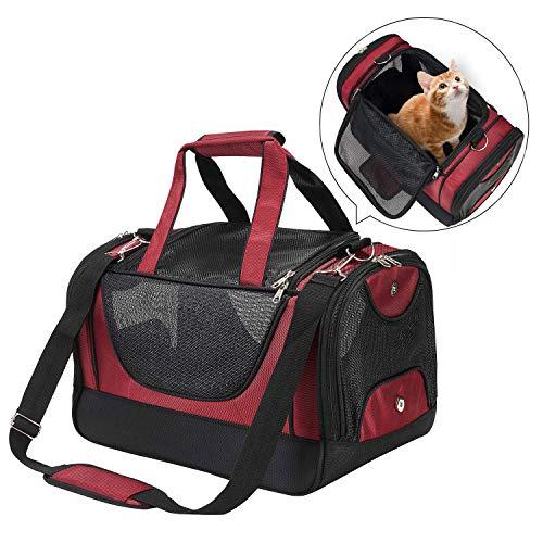 PETTOM Oxford Haustier Tragetasche Hunde Transportbox Katze mit EIN waschbares weiches Wollpad, Gittergewebe Transporttasche für Haustier für Reisen und Täglicher Gebrauch (Wassermelonenrot)