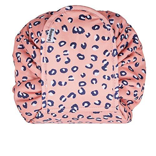 Portátil Lazy Drawstring Bolsa de Maquillaje de Viaje Bolsa de cosméticos Organizador de artículos de tocador Impermeable Grande para Mujeres y niñas (Leopard)