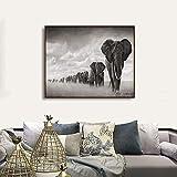 ZFDYH Elefantes Lienzos de Pintura Decoración del Hogar Arte de la Pared Posters Imágenes para la Sala de Estar Dormitorio20x16cm Sin Marco
