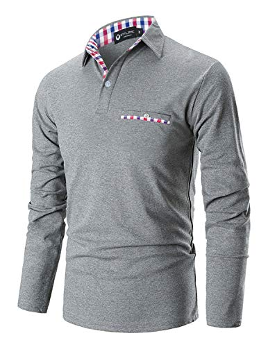 STTLZMC Casual Polo Hombre Mangas Largas Camisetas Deporte Algodón Clásico Plaid Cuello,Gris,Medium