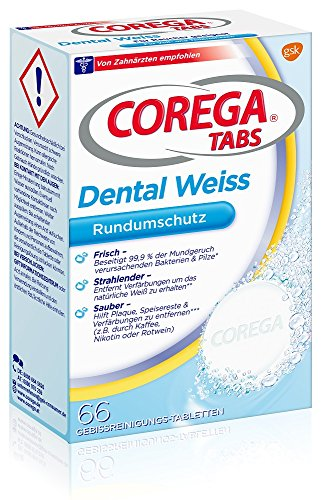 Corega Tabs Dental Wit voor rokers, 3-pack (3 x 66 stuks)