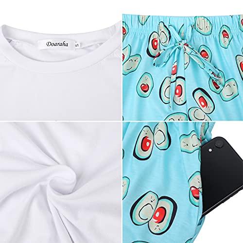 Doaraha Pijama Corto Mujer Estampado Gráfico Ropa de Dormir Verano Camiseta Manga Corta con Pantalones Cortos Bolsillo Conjunto de Pijamas Algodón Suave y Transpirable Dos Piezes (Blanco y Verde, XL)