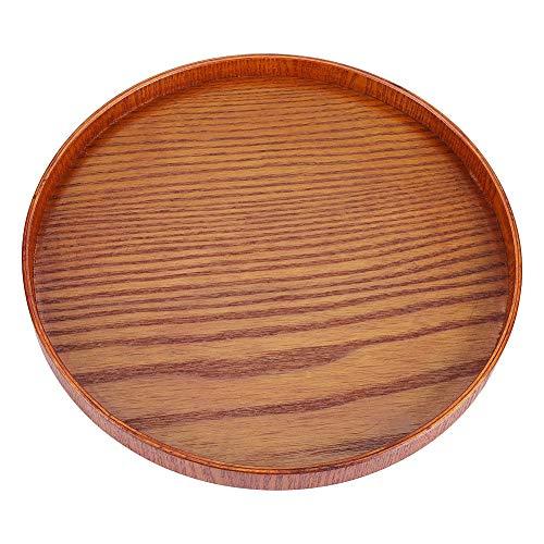 Bandeja redonda de bambú para servir, bandeja redonda para servir de madera natural, plato de madera, servicio de té, platos para servir, bandeja para bebidas de agua(diameter 24CM)