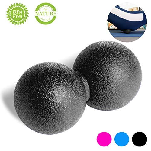 VELOVITA Duoball – Yoga Retreat • schwarz • 6 cm • Faszienball • Peanut Ball zur Behandlung von Schmerzpunkten • Massage-Ball für Nacken, Schulter, Hände, Arme, Fuß und Rücken • Triggerball
