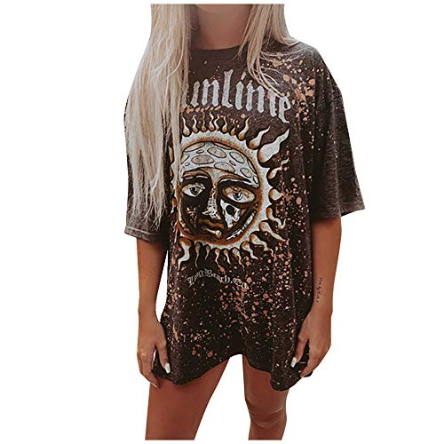 Aniywn Womens Graphic Tees Short Sleeve Tunic T-Shirts Casual Summer Round Neck Printed Funny T Shirt Tops Blouse Brown
