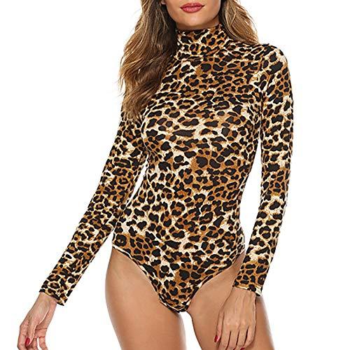 dPois Damen Bodysuit Langarm Overall Trikot Top Leopard Muster Shirt Rollkragen...