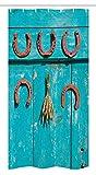 Western Stall Duschvorhang von ambesonne, fünf Antik Rost Glück Symbol Hufeisen & Weizen Ohren Strauß Bild, Stoff Badezimmer Decor Set mit Haken türkis & braun, Textil, Multi 1, 36