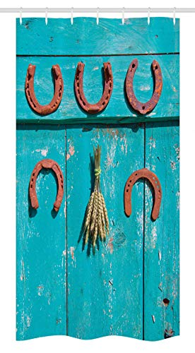 """Ambesonne Western Stall Shower Curtain, 5 Antique Rusty Luck Horseshoe and Wheat Ears Bunch Picture, Fabric Bathroom Decor Set with Hooks, 36"""" X 72"""", Turquoise Brown"""