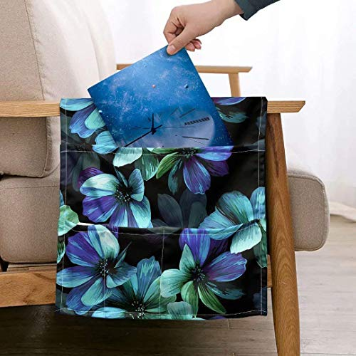 JBNJV Aqua Flower Hibiscus - Fundas Antideslizantes para reposabrazos con 5 Bolsillos para sofá, sillón, Carrito y Organizador para Control Remoto, teléfono, Funda Duradera para Brazos reclinables