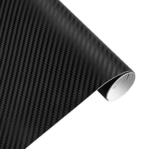 QiuKui 3D-Carbon-Faser-Vinylauto-Verpackungs-Blatt Rollfilm-Auto-Aufkleber und Abziehbilder Motorrad-Auto-Styling-Zubehör PKWs, 30cmx127cm (Color Name : Schwarz)