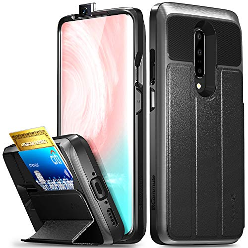 Vena OnePlus 7 Pro Wallet Case, [vCommute] [Military Grade Drop Protection] Flip Leather Cover Card Slot Holder Compatible with OnePlus 7 Pro – Space Gray (PC) / Black (Leather) / Black (TPU)