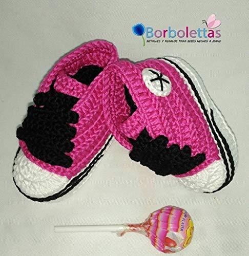 Patucos para Bebé Recién Nacido tipo Converse, 0-3 meses Fucsia-Negro. Handmade. Crochet. España