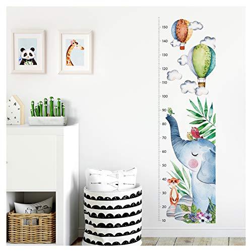 Little Deco Wandtattoo Wandsticker Kinderzimmer Junge Mädchen Messlatte | 150 cm Elefant Vögel Ballons | Tiere Kinder Aufkleber Wanddeko DL354