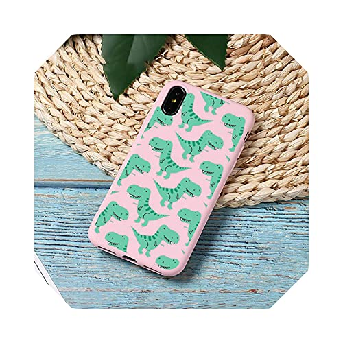 Cute Dinosaur Color Phone Case Candy Color for iPhone 11 12 Mini Pro XS Max 8 7 6 6S Plus X 5S SE 2020 XR-a1-6Plus 6SPlus