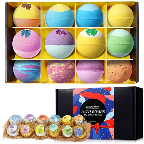 Lagunamoon Bath Bombs,12 Pcs Handmade Double-Layer Color Bath Bombs Gift Set, Rich Bubble, Natural & Organic Bath Bombs with Vegan Pure Essential Oils, Perfect Gifts for Kids, Women, Mom