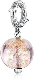 Charm in argento 925 con perline in argento 925 smaltate gialle gelato, cioccolato, lecca-lecca lecca, perline per tè S925