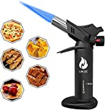 Butane Torch Culinary Cooking Torch for Creme Brulee Steak Baking, Refillable Professional Chef Kitchen Torch Lighters for Dab Rig Crafts Resin with Fuel Gauge Safety Lock Adjustable Flame (No Fuel)