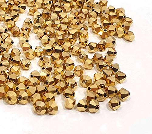 40X Preciosa Böhmische Kristallperlen 4mm Doppelkegel Tschechische Perlen Glasschliffperlen Glasperlen Druckperlen Farbauswahl (Gold)