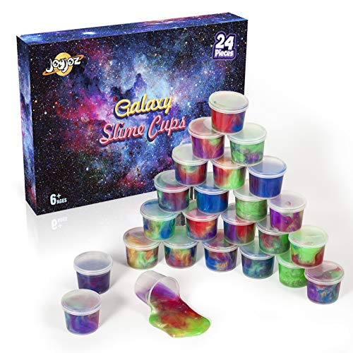 Joyjoz 24 Packs Galaxy Slime, Party Favor for Kids Girls & Boys, Adults, Non Sticky, Stress & Anxiety Relief, Wet, Super Soft Sludge Toy