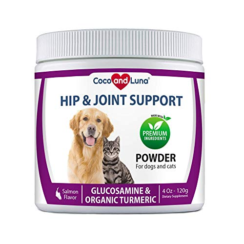 Glucosamine for Cats and Dogs - Hip and Joint Supplement for Dogs and Cats - with Organic Turmeric, MSM, Chondrointin, Organic Sea Coral Calcium – 4 Oz Powder (120g)