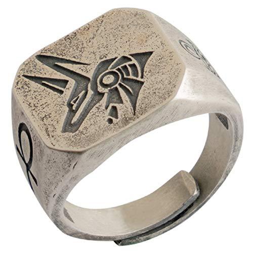 ForFox Anello Testa di Lupo Anubis di Guardia del Faraone Dio della Morte Egiziano in Argento Sterling 925 inciso l'occhio di RA e Croce di Ankh per Uomo Donna Taglia Regolabile 14-27