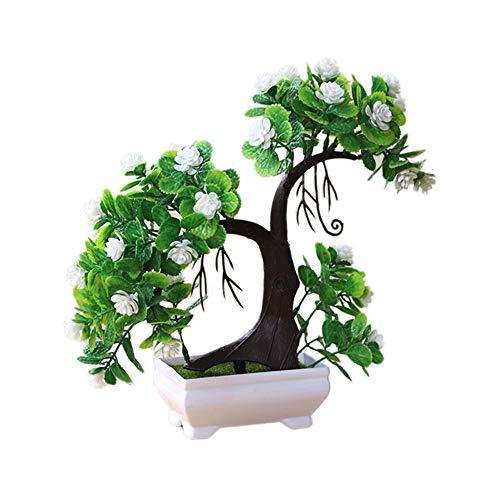Achidistviq 1pièce artificielle Branche d'arbre Plante Faux Fleur Home Decor photographies Valentine Arbre Simulation Plante en pot Boule d'herbe bonsaï Décoration de la Maison blanc