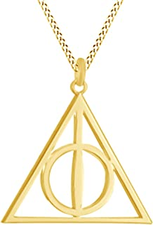 AFFY Harry Potter Deathly Hallow Symbol Pendant Necklace in 14K Gold Over Sterling Silver