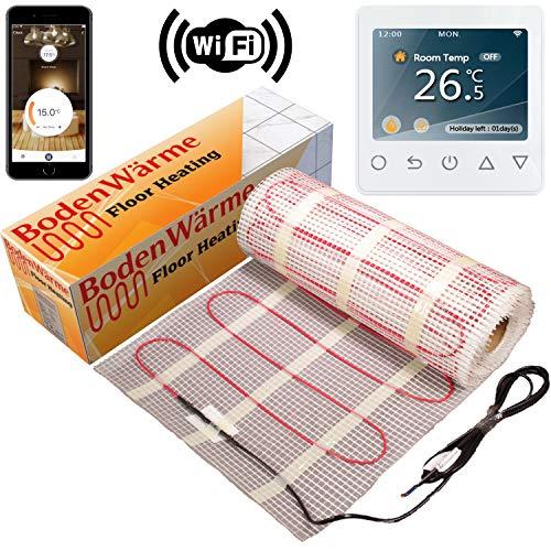 Vorleger für Fußbodenheizung, 200W/M² MIT THERMOSTAT. * Heizung Elektro Bodenwärme, für Einbau unter Boden-Fliesen, alle Größen 3,0 m² Colour Touch Screen Thermostat
