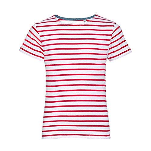 Sols Kinder Miles Kurzarm T-Shirt, gestreift (12 Jahre) (Weiß/Rot)