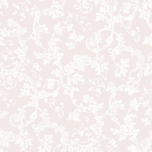 A Vintage Book 1674 Vliestapete stilisierte Rokoko-Rankenornamente mattweiß auf rosé