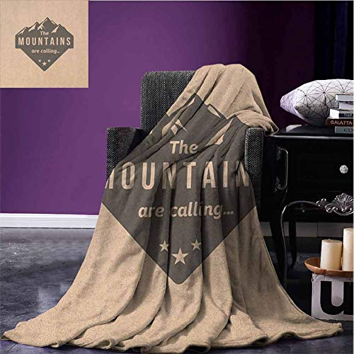 Wdkwkl Adventure Couch Bed Blankets Mountains are Calling Quote on Peach Backdrop Vintage Style Journey Climbing Art Fuzzy Soft Blanket Microfiber for Bedding, W80 xL60 Peach Black