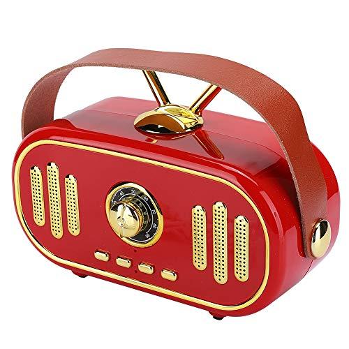 Oplaadbare mini retro draadloze Bluetooth-luidspreker, nieuwe stijlvolle draagbare plug-in-kaart muziekspeler, handgemaakte houten kist radio-subwoofer-versterker om te genieten van verheven stereo su(Rood)